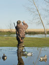 Duck hunter calling ducks a young out hunting Stock Images