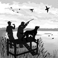 Duck hunting with dog. Hunter shoots a gun at the ducks. Hunter calls decoy ducks. Dog waits for commands to run and bring the duc