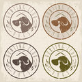 Duck hunting retriever negative  grunge labels set Royalty Free Stock Photo