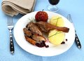 Duck leg with potato dumplings, red apple and cranberries Royalty Free Stock Photo