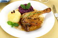Duck leg with potato dumplings red cabbage and gravy top view Stock Photos