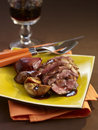 Duck magret with fresh figs and fig alcohol Royalty Free Stock Photos
