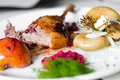 Duck meat with cherry sauce Royalty Free Stock Photo