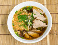 Duck noodle soup on bamboo Royalty Free Stock Image