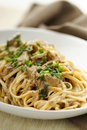 Duck pasta with mushroom sauce Stock Images