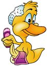 Duck with shampoo colored cartoon illustration vector Royalty Free Stock Photos