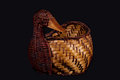 Duck shaped basket a wicker Stock Images