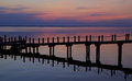 Duck Sunset Pier Reflection Royalty Free Stock Photo