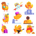 Duckling Different Activities Set Of Cool Character Stickers