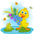 Duckling with flowers