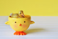 Duckling swimming in a duck bowl tiny going for swim cute Stock Photography