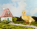 Duckling walking home funny fantasy landscape with miniature fairytale house and little easter Royalty Free Stock Images