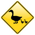 Ducks crossing warning Royalty Free Stock Photo