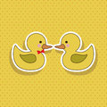 Ducks design over dotted background vector illustration Royalty Free Stock Photos