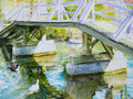 Ducks under two paddle a bridge on a canal in venice ca in a watercolor painting Royalty Free Stock Image