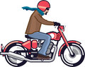 Dude on motorcycle file eps Stock Image