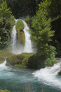 Duden waterfalls carve through karst formations near antalya turkey Stock Photos
