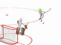Duel striker and goalkeeper hockey players puppet men play on ice one swung at the puck ready to catch d cutout background Stock Photo