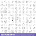 100 dues icons set, outline style