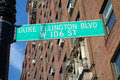 Duke ellington boulevard in new york city named after the american composer pianist and bandleader of jazz orchestras Stock Image