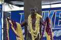 Duke kahanamoku at oceanfest the statue of draped in leis the opening ceremonies of dukes Stock Photo