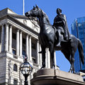 Duke of wellington statue and the bank of england situated outside in london Royalty Free Stock Images