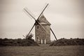 Dull Landscape with Old windmill Royalty Free Stock Image
