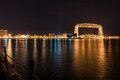Duluth skyline at night of minnesota autumn Royalty Free Stock Image