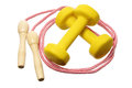 Dumb Bells and Skipping Rope Royalty Free Stock Photos