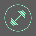 Dumbbell circular line icon. Gym, fitness Round colorful sign. Flat style vector symbol.
