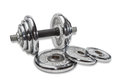 Dumbbell collecting consisting of several discs of different weights which is engraved on these discs and several disks separately Royalty Free Stock Image