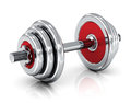 Dumbbell creative sport fitness and healthy lifestyle concept shiny metal isolated on white background with reflection effect Royalty Free Stock Photo