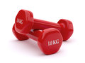 Dumbbell d render of red kg on white background Stock Photo