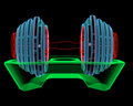 Dumbbell d xray red green and blue transparent isolated on black background Stock Photo