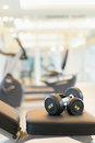 Dumbbell on the exercise bench Royalty Free Stock Photo