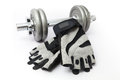 Dumbbell And Fitness Gloves On...