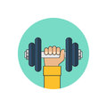 Dumbbell in hand icon