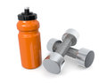 Dumbbell one couple of dumbbells with a water bottle d render Stock Photography