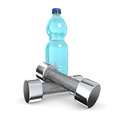 Dumbbell one couple of dumbbells with a water bottle d render Royalty Free Stock Image