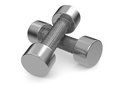 Dumbbell one couple of dumbbells on white d render Royalty Free Stock Image