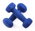 Dumbbell two blue on white background Royalty Free Stock Images