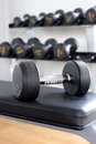 Dumbbells closeup dumbbell in the gym Royalty Free Stock Photography