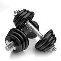 Dumbbells very high resolution d rendering of two shiny over white Royalty Free Stock Image