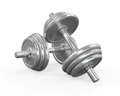 Dumbbells on white background d render Stock Photos