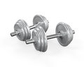 Dumbbells on white background d render Royalty Free Stock Photo