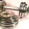 Dumbell with discs Royalty Free Stock Photo
