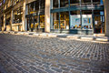 Dumbo brooklyn cobblestone streeet ny may old street in in new york city on may this historic part of is was named the Royalty Free Stock Photo