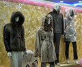 Dummies in fur coats in the shop window kemer turkey Royalty Free Stock Photography