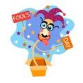 Dummkopf tageskomischer verrückter clown head in surprise kasten april holiday greeting card banner Lizenzfreie Stockfotos