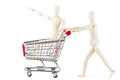 Dummy with shopping cart Royalty Free Stock Images